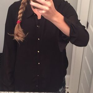 Sheer black button down shirt